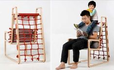 Jungle Gym Recliners - The Abooba Chair Lets Parents Sit Comfortably While Playing with Their Kids Diy Kids Furniture, Recycled Furniture, Home Decor Furniture, Home Decor Items, Furniture Plans, Furniture Design, Woodworking Guide, Custom Woodworking, Woodworking Projects Plans