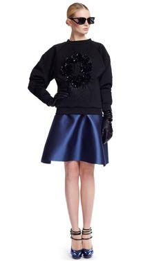 MAJE: Prabal Gurung F/W '12 Neoprene Sweatshirt (I die die die), and Flared Skirt, $3945 for both.