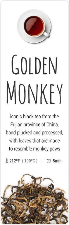Farm-fresh Golden Monkey black tea from Fujian, China.