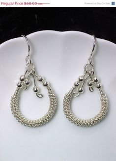 Silver Beaded Hoop Dangle Earrings Wire Wrapped by PeacebirdStudio, $42.50