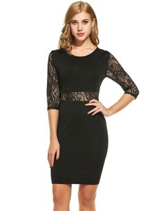 New Women Sexy O-Neck Three Quarter Sleeve Lace Patchwork Hollow Out Dress