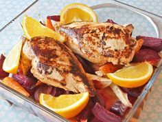 Kyllingfilet med appelsin og ovnsbakte rotgrønnsaker Free Food, French Toast, Turkey, Meat, Chicken, Dinner, Breakfast, Recipe, Board