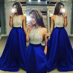 Sexy Halter Floor Length Chiffon Blue Backless Prom Dress With Beading - Thumbnail 1