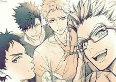 Haikyuu ships - 8 bokuto x akaashi x kuroo x tsukishima Manga Haikyuu, Haikyuu Tsukishima, Kuroo Tetsurou, Akaashi Keiji, Haikyuu Fanart, Nishinoya, Kenma, Manga Anime, Bokuto Koutarou