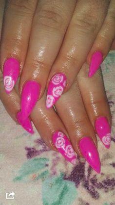 decodoll stilettos pink nails roses