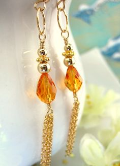 Gold tassle chain earrings with orange Swarovski by KBlossoms, $40.00
