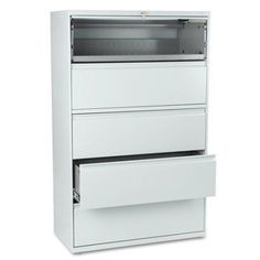 HON 800 Series 5-Drawer Lateral File, Roll-Out/Posting Shelves, 42 inchW x 67 inchH, Gray