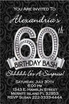 60th Birthday Invitations - Digital Download - Get these invitations RIGHT NOW. Design yourself online, download and print IMMEDIATELY! Or choose my printing services. No software download is required. Free to try!