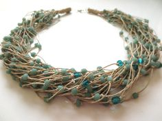 Fresh Green Matte Glass Beads Modern , Natural Linen Cord, Necklace on Etsy, $36.00