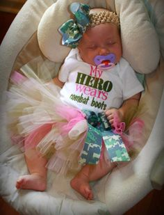 My Hero Wears Combat Boots Pink Army Tutu Outfit - For Sizes Newborn - 12 Months. $29.00, via Etsy.