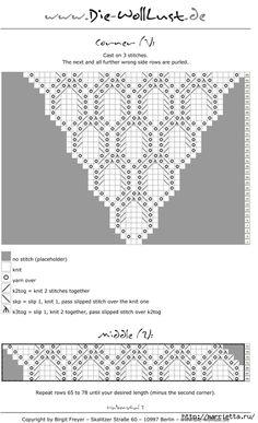 Шаль спицами узором АЛМАЗ. Схема (5) (426x700, 152Kb) Lace Knitting Patterns, Shawl Patterns, Knitting Stitches, Knitting Needles, Free Knitting, Crochet Poncho, Knitted Shawls, Diy Crochet, Crochet Hooks