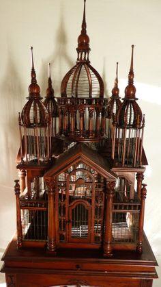 Antique Mahogany  Castle Birdcage