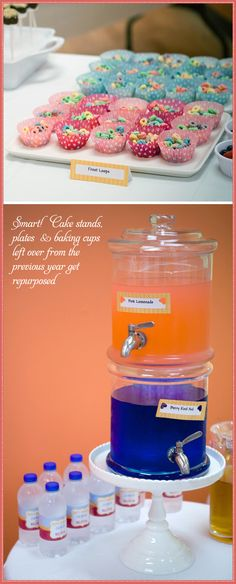 Need this double drink dispenser - love that it is on a cake plate, too. Oh, that Kate Landers!
