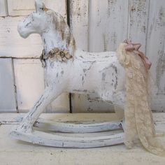 Large Handmade White Rocking Horse With Crown Heavy Duty Paper Mache Piece…