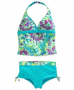 Trying to find swimsuits that offer the convenience of a two-piece without letting it all hang out.  You'd be surprised at the suits made for little girls.  I think this one is a winner.   Angel Beach Girls' 2-Piece Tankini Boyshort Swimsuit