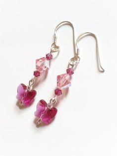Pink Butterfly Swarovski Crystal Elements Earrings by Twinkle Planet https://www.etsy.com/listing/161854550/pink-butterfly-swarovski-crystal?