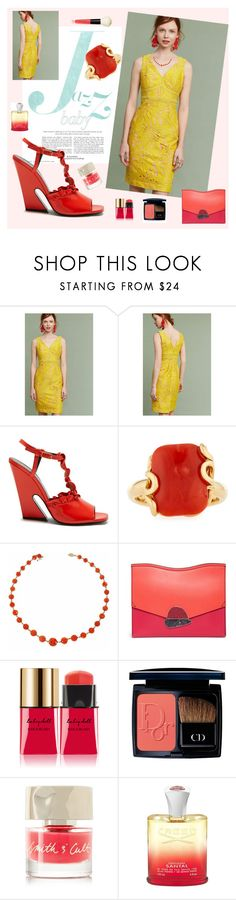 """Yellow, Coral and All That Jazz"" by bklou ❤ liked on Polyvore featuring Maeve, Mulberry, Miseno, Proenza Schouler, Yves Saint Laurent, Christian Dior, Smith & Cult, Creed and Bobbi Brown Cosmetics"