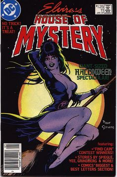 Elvira's House of Mystery Halloween Special Dave Stevens Cover DC Comics Bd Comics, Horror Comics, Horror Art, Comic Book Covers, Comic Books Art, Rock And Roll, Dave Stevens, Halloween Countdown, Happy Halloween