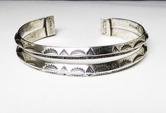Native American Indian Sterling Silver Cuff Bracelet - Signed Sterling NAI Double Bars Etched with Mountain & Sunrise - Vintage 1970s Era - #Jewelry #Vintage #Fashion #etsy