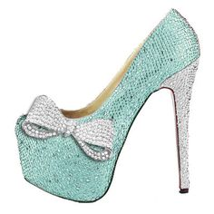 Tiffany Blue Bow Crystal Pumps