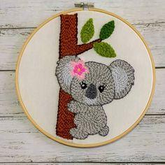 Koala punch needle embroidery kit, Punch needle tutorial, Rug hooking beginner kit, Diy kit, Punch – Rug making Punch Needle Kits, Punch Needle Patterns, Embroidery Patterns Free, Embroidery Kits, Border Embroidery, Flower Embroidery, Wooden Embroidery Hoops, Satin Stitch, Punch Art