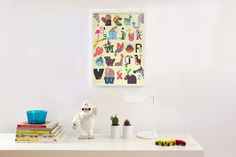 Build Animal A-Z Alphabet print in Yellow <3