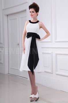 Strapless Classic Ivory Bridesmaids Dress - Order Link: http://www.theweddingdresses.com/strapless-classic-ivory-bridesmaids-dress-twdn5253.html - Embellishments: Sash; Length: Tea Length; Fabric: Satin; Waist: Natural - Price: 121.8868USD