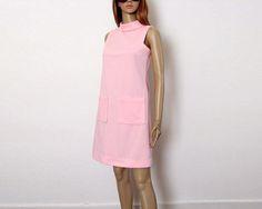 Vintage 1960s Mini Dress Pale Pink A-Line Shift Handmade Dress