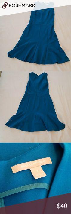 Like New - Peacock Blue Banana Republic Beautiful rich blue dress with flares bottom Banana Republic Dresses