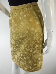 """Hip 35"""" rayon, 1/2 lined Vintage 50s Pencil Wiggle Secretary Skirt in Gold Brocade by Better Dresses Vintage"""