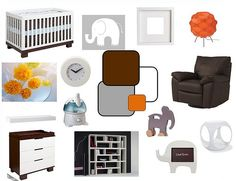I think this is going to be the design/furniture for the babys nursery! Although, I think the color scheme will be brown, white, and green instead of orange. The chair will also be different. It will be the Ikea Poang chair.