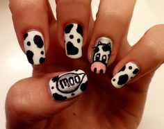 COW!! requested by my favorite dude, jillyissilly! thanks dude! :)  colors used:  color club-french tip  sally hansen-black out  sally hansen-celeb city  american apparel-coney island
