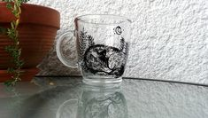 Wolf glass mug, Wolf hand painted illustration, Gifts for wolf lovers, Forest animals, Botanical art Dog Mom Gifts, Pet Gifts, Sleeping Wolf, Forest Animals, Woodland Animals, Hand Painted Mugs, Dog Portraits, Botanical Art, Gift For Lover