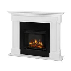 Real Flame Thayer 54 in. Electric Fireplace in White-5010E-W - The Home Depot Fake Fireplace, Concrete Fireplace, Fireplace Mantels, Mantle, Decorative Fireplace, Fireplace Ideas, Stucco Fireplace, Fireplace Drawing, White Mantel