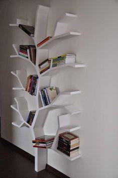 Diy Bookshelf Design, Wall Shelves Design, Study Room Decor, Bedroom Decor, Tree Bookshelf, Creative Bookshelves, Tree Shelf, Bookshelf Ideas, Home Room Design