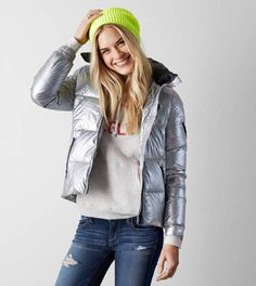 Silver AEO Get Down Hooded Puffer Jacket