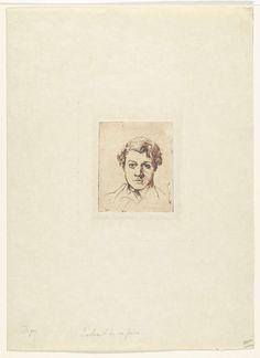 Edgar Degas | Portret van de broer van de kunstenaar René Degas, Edgar Degas, 1861 - 1862 | Portret met het hoofd van René Degas en face. De kunstenaar experimenteerde met een zachte etsgrond waardoor hij het effect bereikte van een potloodschets.