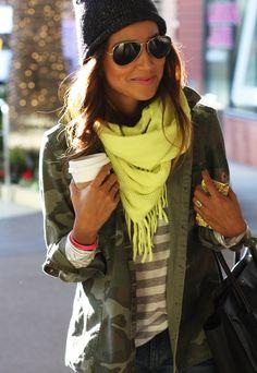 camo, stripes & bright scarf.