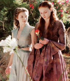 Game of Thrones: Margaery Tyrell and Sansa Stark Arte Game Of Thrones, Game Of Thrones Sansa, Game Of Thrones Costumes, Game Of Thrones Series, Margaery Tyrell, Sansa And Margaery, Cersei Lannister, Daenerys Targaryen, Sansa Stark