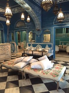 This supremely chic new bar and restaurant, Bar Palladio Jaipur, is located on the grounds of Hotel Narain Niwas Palace, the elegant spot I stayed at in Jaipur. It is run by Barbara Miolini, an Italian expat who, with the help of her friend Marie-Anne Oudejans (of Tocca), created a space that pays tribute to both Indian and Italian heritage with bright blue walls, Mughal flower murals, and a menu that includes both pasta and samosas.