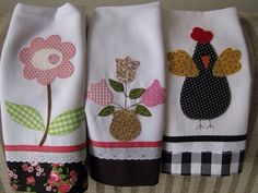 I like this chicken design for applique towel for K's Sewing Appliques, Applique Patterns, Applique Designs, Embroidery Applique, Machine Embroidery, Patch Quilt, Dish Towels, Tea Towels, Applique Towels