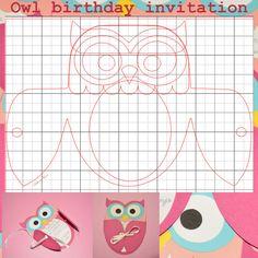 Molde para convite de aniversário corujinha. Owl invitation template. Fiz com a silhouette cameo.Eu adaptei daqui: http://www.freshstitches.com/knook-knitting-with-a-crochet-hook-wort/ #template #owlinvitationtemplate #moldeconvitecorujinha #silhouettecameo #invitation #convite #owl #birthday