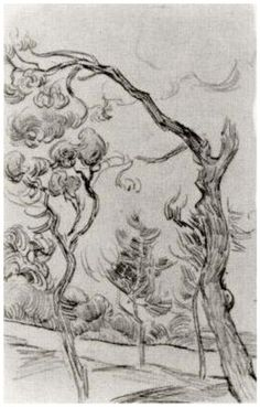 Pine Trees Seen against the Wall of the Asylum by Vincent Van Gogh  Drawing, Pencil   Saint-Rémy: October - 5-22, 1889