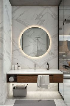 Are you searching for best bathroom mirror ideas? This beautiful bathroom mirror ideas are fun, stylish and creative. Modern Bathroom Lighting, Contemporary Bathrooms, Modern Bathroom Design, Bath Design, Contemporary Vanity, Modern Lighting, Lighting Ideas, Vanity Lighting, Contemporary Decor