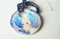 Ceramic Necklace Pendants Turquoise Jewelry Ceramic by HerMoments