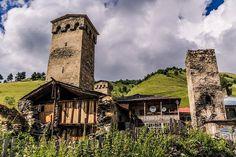 Medieval towers in Adishi. Svaneti, Georgia, late July Средневековые башни в Адиши. Сванетия, Грузия, конец июля