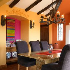Great Use Of Color In This S Western Dining Room