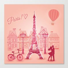 Buy We Love Paris ! Canvas Print by mr0frankenstein. Worldwide shipping available at Society6.com. Just one of millions of high quality products available.