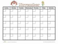 Second Grade Time Worksheets: November Calendar