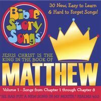 "Matthew, Volume 1 - Jesus Christ is the King, 30 Songs from Matthew Chapters 1-8. 55 minutes, Lyrics included in the stuffer. Sing about the fortelling of Jesus' birth, His baptism, the nine blessings in the ""Sermon on the Mount,"" and the Lord's prayer. Great character point songs on not being anxious, giving, and how to treat other people."